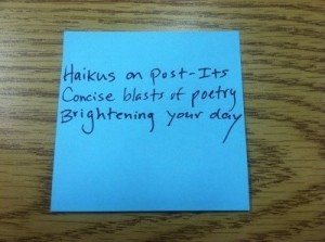 haiku written on Post-It note