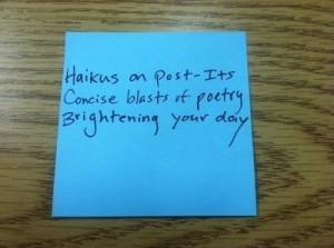 haiku written on Post-It note
