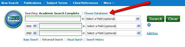 "screenshot showing the location of the ""Choose Databases"" option in EBSCO"