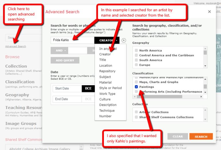 Screen shot of the advanced search screen in ArtSTOR .