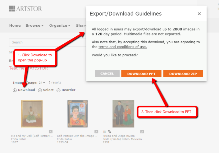 Screenshot of downloading image group to PowerPoint