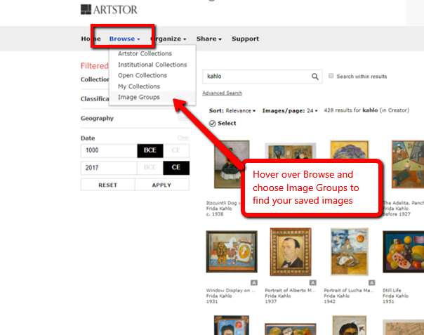 Screen shot of accessing saved image groups in ArtSTOR