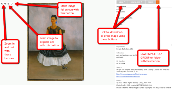 Screen shot of an image screen in ArtSTOR showing the buttons to zoom in and out, link to, download, print, and save.