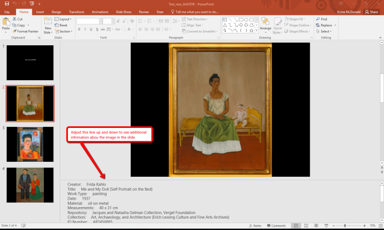 Screen shot showing how to see the detailed information about an image in the speaker notes area in PowerPoint