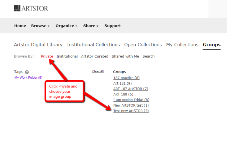 Screen shot of ArtSTOR private image groups list