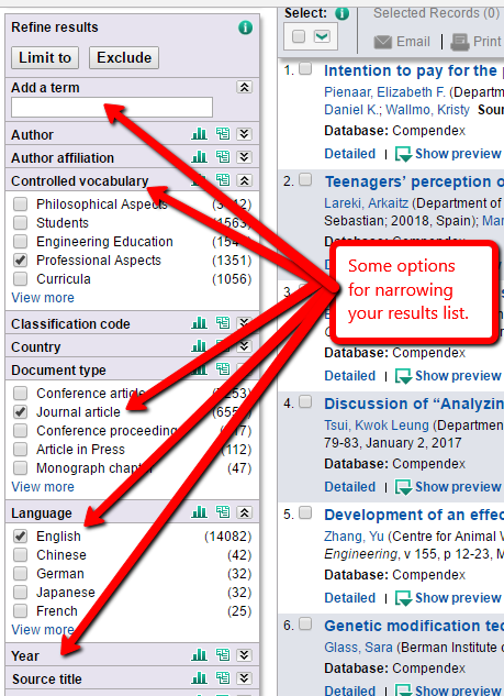 screen shot of suggested limit options in the Compendex database