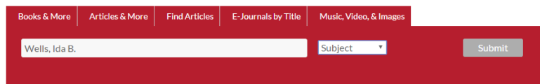 screen shot of how to enter a catalog search for a biography