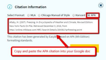 screen shot of citation information for an article from Science Online with APA formatting selected