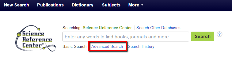 screen shot of Science Reference Center landing page with link to Advanced Search option boxed in red