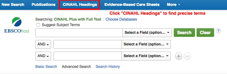 CINAHL Headings link at top of search page