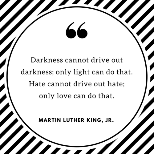 """""""Darkness cannot drive out darkness; only light can do that. Hate cannot drive out hate; only love can do that."""" Martin Luther King, Jr."""