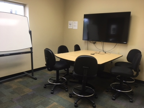 photo of group study room in the library