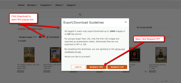 Screenshot in the ARTSTOR database of where to click in order to export an image group into powerpoint