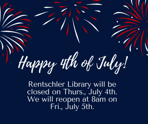 graphic saying the library will be closed on Thursday July 4th